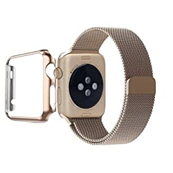 Apple Watch Band, Biaoge Steel Milanese Loop Replacement Wrist Band with Plated Case for Apple Watch (Update Version For Apple Watch Sport Gold 42mm)
