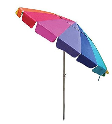 8 Ft Rainbow Multi Color Patio & Beach Umbrella with Wind Vent