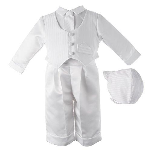 Lauren Madison baby boy Christening Baptism Infant Satin Vest Set with Pant, White, 6-9 Months