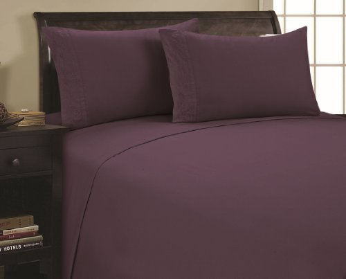 Review 1800 Series Microfiber 4pc KING SIZE Bed Sheet Set,Deep Pocket, PURPLE