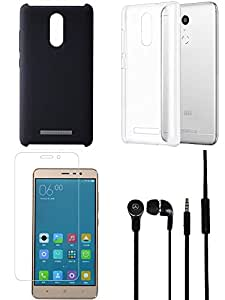 Tempered Glass Screen Guard Headphone Cover Back Cover combo for Redmi Note 3