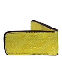 MOB Milan Series New Genuine Leather Magnetic Slim Pocket Money Clip Holder Yellow