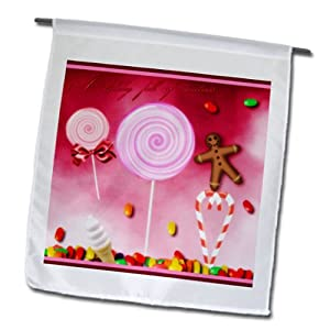 fl_35670_1 Renderly Yours Winter And Christmas - Holiday Sweets, Candycane, Gingerbread Man, And Lollipops - Flags - 12 x 18 inch Garden Flag