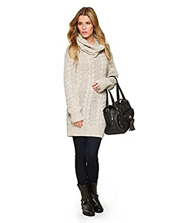 Monsoon Womens Carly Cable Tunic With Detachable Cowl Size Medium Nude