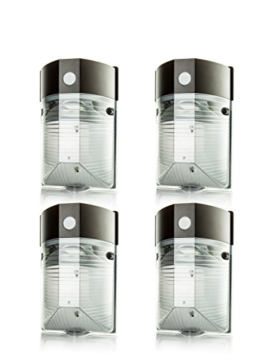 Hyperikon LED 25W Wall Pack Light, PHOTOCELL INCLUDED, 5000K (Crystal White Glow), 150W to 180W HPS / HID equivalent, 2300 Lumens, 120V, Security Area Lighting, UL & DLC – (Pack of 4)