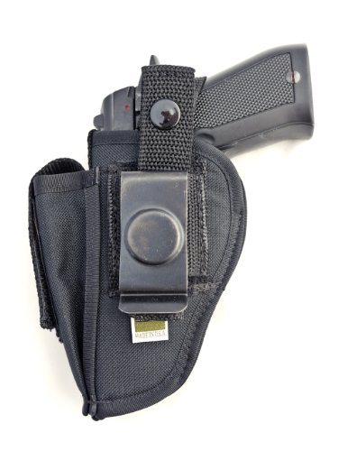 Outbags OB-02SC Nylon OWB Belt Gun Holster with Mag Pouch for Ruger LC9, Bersa Thunder 380, Beretta 81 / 84 / 85F, Kahr CW9, Walther P22 Compact, Kel-Tec PF-9, Makarov FEG PA-63, Diamondback DB9, CZ-USA CZ 83 and More