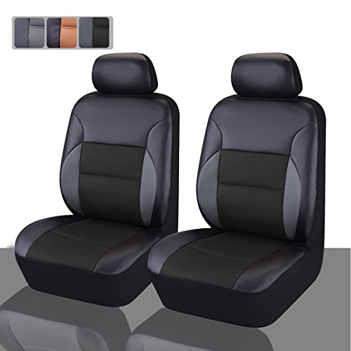 CAR PASS - 6PCS Luxurous Leather Universal Two Front car seat Covers Set (Black And Black) (Leather Car Seat Covers Front compare prices)