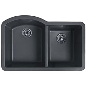 Swanstone QUDB-3322-077 32-Inch by 21-Inch Granite Double Bowl Undermount Kitchen Sink, Nero Finish