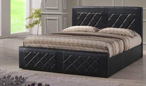 hodedah import leather bed queen brown queen size bed. Black Bedroom Furniture Sets. Home Design Ideas