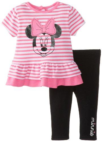Disney Baby Baby-Girls Newborn Sugar Plum 2 Piece Minnie Mouse Legging Set, Sugar Plum/Black, 0-3 Months