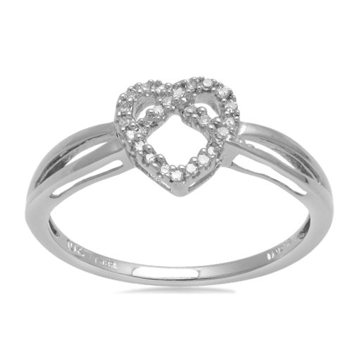 10K White Gold Diamond Heart Ring (I-J Color, I3 Clarity), Size 7