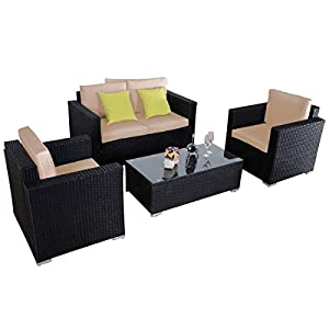 Giantex 4pc Outdoor Patio Furniture Rattan Sofa Set Wicker Sectional W/cushions