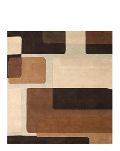Fashion n You Handmade New Zealand Wool Rug, Dark Brown/Chocolate/Warm Sand, 8 Feet