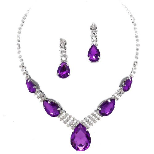 Glitzy Glamour Purple Black Teardrop Diamante Necklace Sets