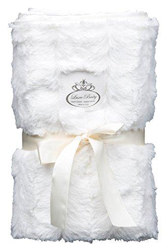LUXE BABY Cloud Faux Fur Stroller Blanket, Cream - 1