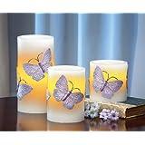Led Flameless Butterfly Pillar Candles - 3 Pc