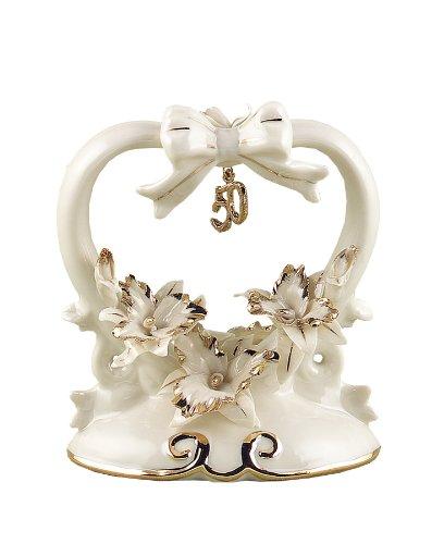 Hortense B. Hewitt Wedding Accessories 50th Anniversary Porcelain Cake Top, 4.5-Inches Tall