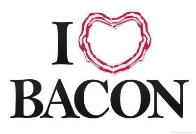 (12X18) I Heart Love Bacon Indoor/Outdoor Plastic Sign