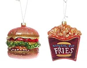 Fast Food Burger & Fries Christmas Ornament Set Glass