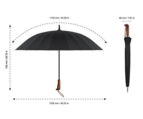 Plemo Regenschirm Stockschirm mit Holzgriff und 24 Streben, Schnell Trocknet, Strapazierfähig für Optimalen Widerstand gegen Wind und Regen -
