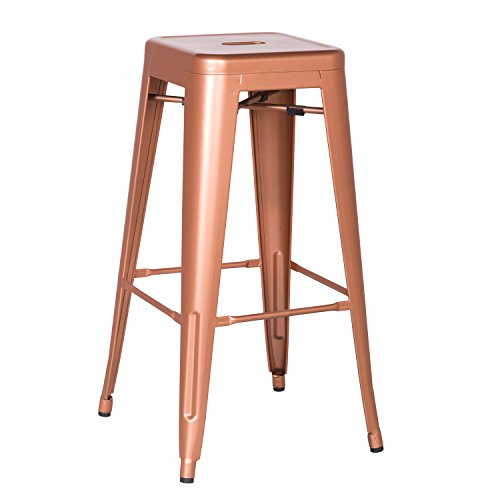 Joveco 24/30 Inches Sheet Metal Frame Tolix Style Bar Stool - Set of 2 (30 Inches Copper)