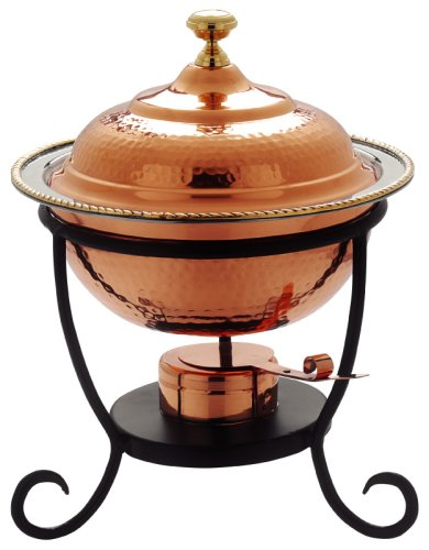 Old Dutch 12Â¿ x 15Â¿ Round Decor Copper Chafing Dish,  3 Qt