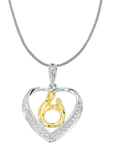 "Sterling Silver And 18K Yellow Gold Plate Mother And Child Diamond Heart Pendant, 20"" front-174085"
