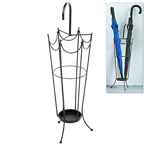 MyGift Freestanding Umbrella Holder Organizer, Umbrella-Shaped Metal Rack, Brown