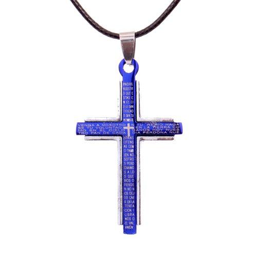 yazilind-schmuck-silber-blue-cross-edelstahl-lords-prayer-kreuz-halskette-kleidung-pu-leder-kette-ge