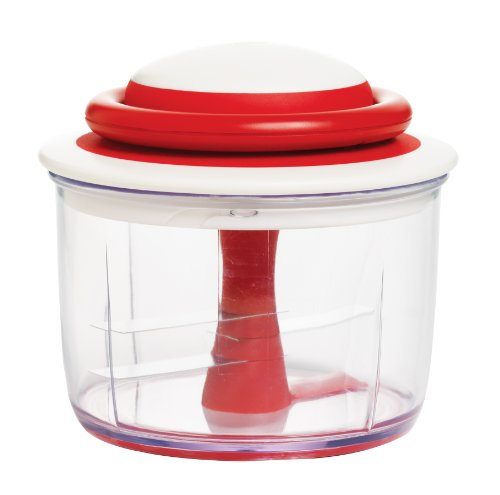 Chef'n VeggiChop Hand-Powered Food Chopper, Cherry Color