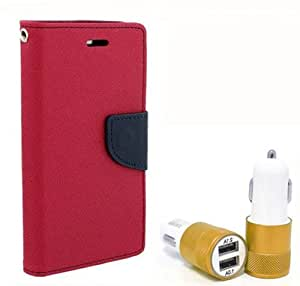 Aart Fancy Diary Card Wallet Flip Case Back Cover For Nokia 520 - (Pink) + Dual ports USB car Charger With Ultra Power Technolgy by Aart Store.