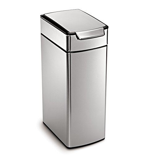 simplehuman Slim Rectangular Touch-Bar Trash Can, Stainless Steel, 40 L / 10.5 Gal (Simplehuman Slim Step Can compare prices)