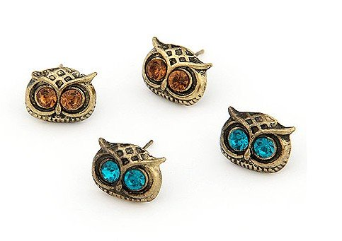 niceEshop Art Deco Owl Head Charm Stud Earrings,