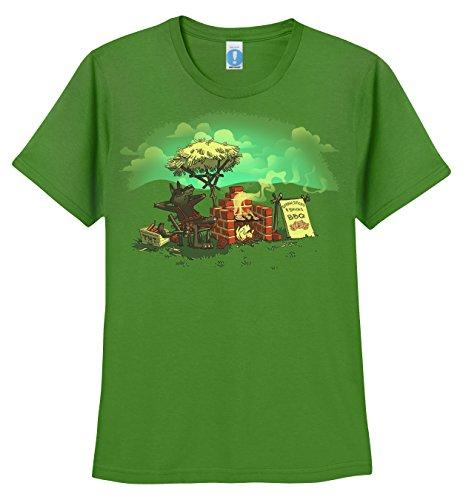 Shirt.Woot - Women'S Straw, Sticks, & Bricks BBQ T-Shirt - Grass Green - Medium
