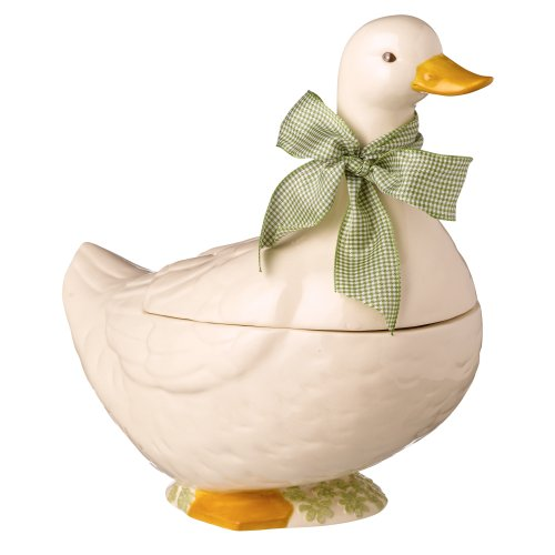 Grasslands Road Ceramic Spring Meadow Duck Cookie Jar, 11-Inch