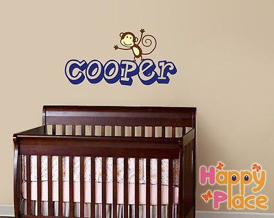 Personalized Baby Name With Cute Monkey Decal Sticker, Jungle Decals - Am038