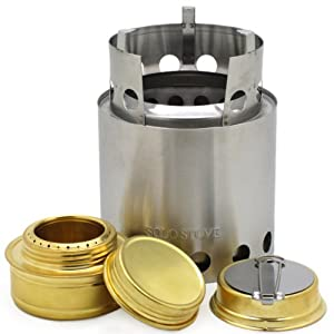 Solo Stove With Backup Solo Alcohol Burner Light Weight Wood Burning Backpacking & Camp Stove. Great Survival Camp Stove For Emergency Disaster Preparedness Bug Out Bags Preppers Freeze Dried Food Storage.