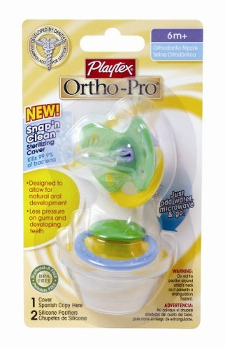 Playtex Baby Ortho-pro. Silicone Pacifiers with Sterilizing Cover 6+ Months - Colors May Vary