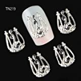 10 Pcs Gold Silver 3D Luxury Alloy Hollow Out Nail Art Decoration (TN219)