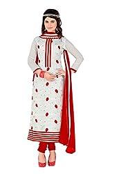 White colour embroidered chanderi fabric semi stich churidar dress material