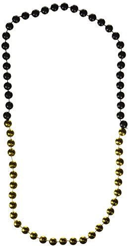 [Jumbo Party Beads (black & gold) Party Accessory  (1 count) (1/Card)] (Jumbo Mardi Gras Beads)