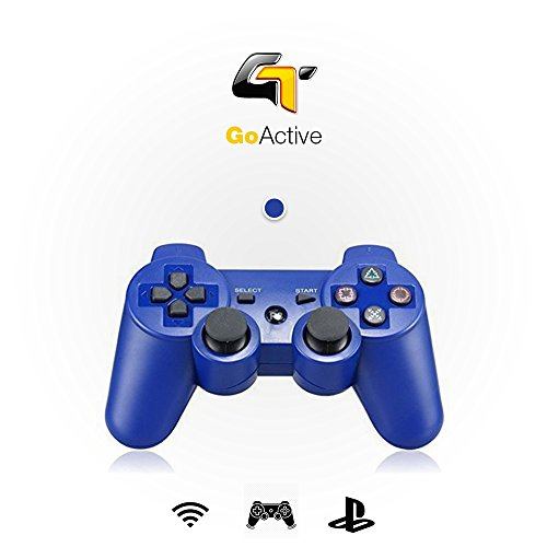 Gamepad Wireless Bluetooth Ps3 Game Controller - Double Vibration Controller Remote (Blue) by GoActive®