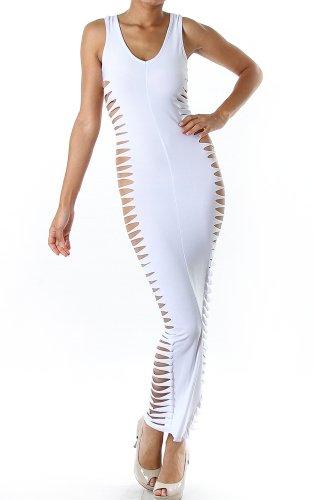 Pinkclubwear Side Panel Slashed Scoop Neck Sleeveless Maxi Dress-White-Small