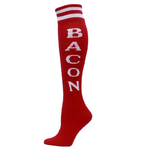 Red Lion Bacon Urban Word Sport wear High Knee Sock ( Red / White - Medium )