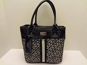 Amazon.com: Tommy Hilfiger Black-Taupe Handbag SM Tommy Shoulder Tote