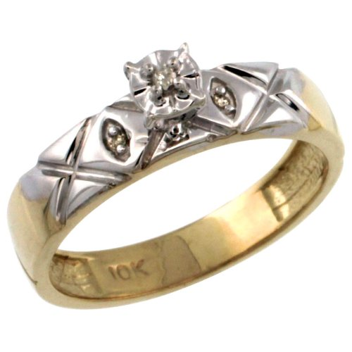 Sterling Silver (Gold Plated) Diamond Engagement Ring w/ 0.03 Carat Brilliant Cut Diamonds, 5/32 in. (4.5mm) wide, size 10