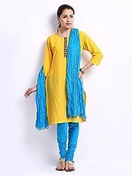 MemSahiba Women Plain Cotton Chudidaar Dupatta Combo (MS-1388_Sky Blue)