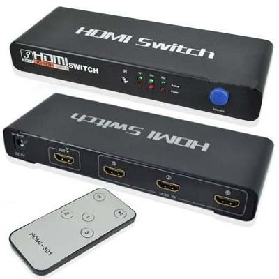 Three Port Hdmi 3-Port (3X1) Hdmi Powered Switch Switcher W/ Ir Remote And Ac Adapter- Supports Blu-Ray, Ps3, Xbox, Hd-Dvd, Hd-Dvr, Digital Satellite & Cable Boxes, 1080P