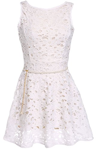 OURS Women's Lace Cocktail Party Backless Sleeveless O-neck Dress these days are ours