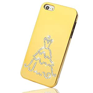 NOVA CASE Lumia Series 3D Bling Crystal iPhone Case for iPhone 5 - Gold Wedding Dress (Package includes soft pouch, screen protector, extra crystals)